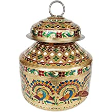 "Lavender Craft PEACOCK designed, Meenakari Decorated, Medium Stainless Steel POT/KALASH - 8""x8""x8.5"" Inch with MIRROR LAMINATION (4 Litre)"