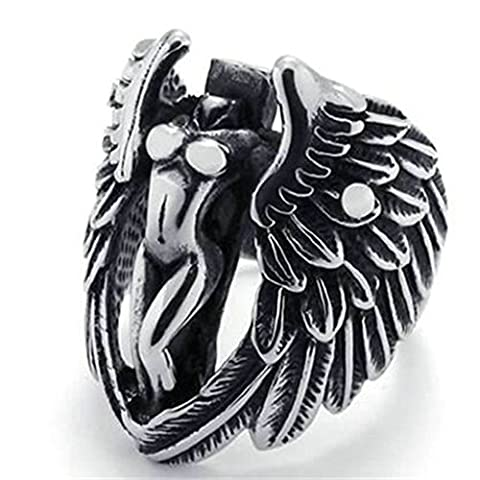 Stainless Steel Ring for Men, Cross Wing G?ttin Ring Gothic Black Band Silver Band 29MM Size Z 1/2 Epinki
