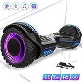 Mega Motion 6,5 Zoll Elektro Skateboard E-Board Hover - mit RGB LED auf Rädern - LED Zelt - Bluetooth Lautsprecher - 700W Motor - Gyropod Modell