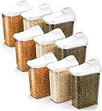 Slings Plastic Cereal Dispenser Easy Flow Storage Jar 750Ml 9 Pcs Set, Idle