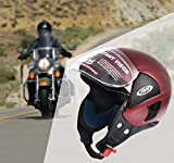 #6: JMD Wonder Open Face Helmet (L) Wine Red Color, Matt Finish || Imported Cushioning For Comfort Fit || Poly Carbonate Visor For Better Visibility || Scratch Less Shell For Longer Life || Safety Without Compromise
