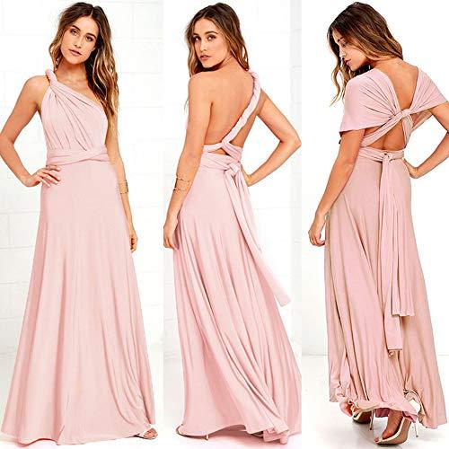Mode Kleid, Brautjungfer Formale Multi Art Wrap Cabrio Infinity Maxi Kleid, Pink Aushöhlen Partei Verband Vestidos Frauen Kleidung Eine Größe ()
