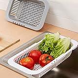 BIlinl Ajustable en el Fregadero Plato de Secado Escurridor de Estante Hortalizas de plástico Titular de la Cesta de Frutas Utensilio de Cocina