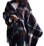 Generic Moderner und trendiger 2-in-1 Design-Poncho mit Schal-Funktion für Damen kariert in der Größe 194x70cm Farbe Dunkel-Blau mit weiß-rot-grünen Streifen