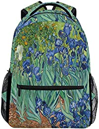 Mochila Escolar Van Gogh Irises Bookbag Lady Travel Ruckack