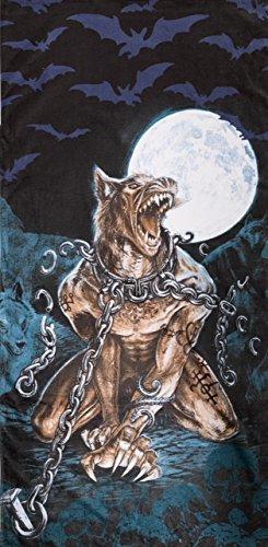 Alchemy Gothic Beach Towel Loups Garou, 100% Cotton, 70cm x 140cm, Werewolf, Full Moon, Wolf, Skulls, Bats, Graveyard, Chains, Black, Blue, Brown, White by Alchemy - Halloween Garou Loup