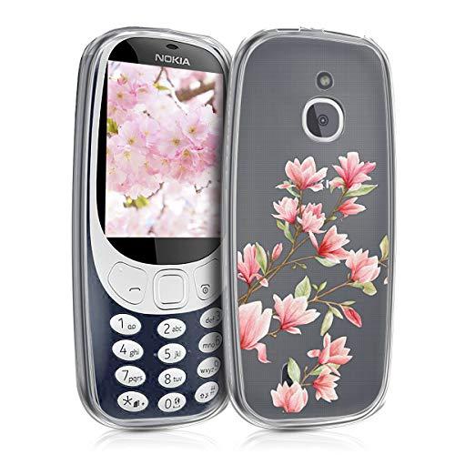 kwmobile Nokia 3310 3G 2017 / 4G 2018 Hülle - Handyhülle für Nokia 3310 3G 2017 / 4G 2018 - Handy Case in Rosa Weiß Transparent