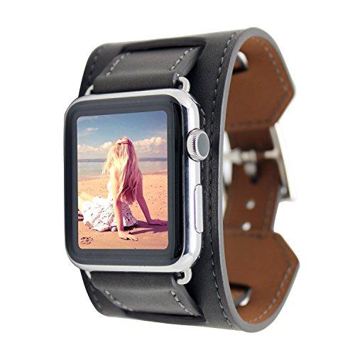 FOTOWELT pour Apple Watch Band, Cuff Bracelet cuir...