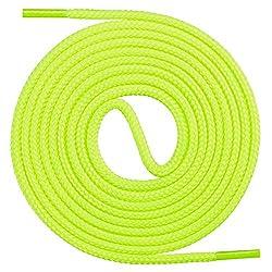Mount Swiss runde Premium-Schnürsenkel für Business- und Lederschuhe - reißfester Allroundsenkel - ø 3mm - Farbe Neongelb Länge 110cm