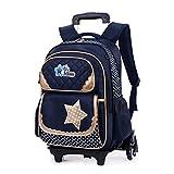 Zhhlaixing Trolley Bag Amovible Sac à Dos pour Enfants Garçons et Filles Cartable À Roues Sac à Dos pour Enfants 8-12 Ans