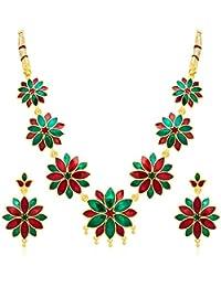 Shostopper Gold Plated Necklace & Dangle & Drop Earring Jewellery Set For Women
