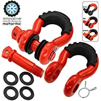 """motormic Unique D Ring Shackles 2 Pack RED - 3/4"""" Clevis with 7/8"""" Pin Safety Max 57,000 lbs Break Point - 2 Black Isolators, 8 Washers - Heavy Duty use for Tow Strap, Winch, Off Road, Towing"""