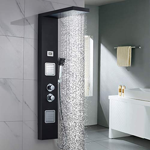 Duschpaneel Thermostat Duscharmatur aus Edelstahl, WOOHSE Duscharmaturen mit LCD Display 2 Massagendüsen, Regendusche, Handbrause, Duschsäule Badarmatur Duschsystem mit 3 Funktionen für Badezimmer
