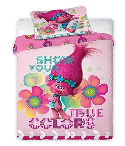 Troll Poppy Montrez vos Couleurs vraies enfants Housse de couette Taie d'oreiller Parure de lit simple, Troll Poppy Single Size, Taille simple