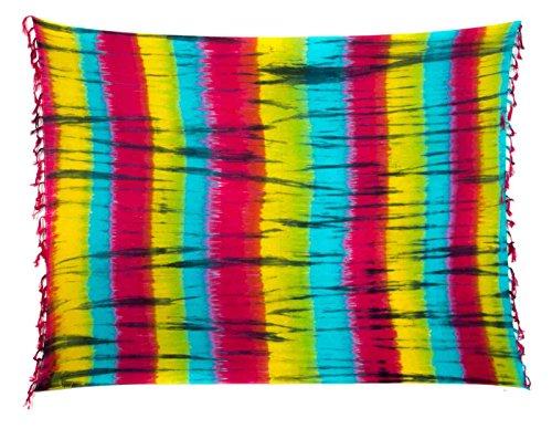 Sarong Pareo Wickelrock Dhoti Strandtuch Handtuch Tuch Schal Batik Streifen Bunt - Schal Pashmina Streifen