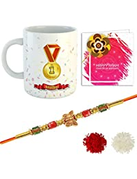 YouBella Rakhi, Mug and Greeting Card Combo for Brother (Multi-Colour) (YBRK_97)