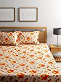 #9: Bombay Dyeing Elements 120 TC Polycotton Double Bedsheet with 2 Pillow Covers - Orange