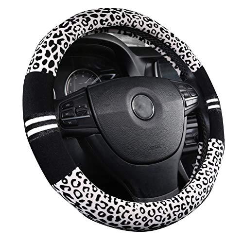 Weiche Leopard-Auto-warme Lenkradabdeckung Handbremsgriff-Gangschaltung-Plüsch für Frauen im Winter Weiß