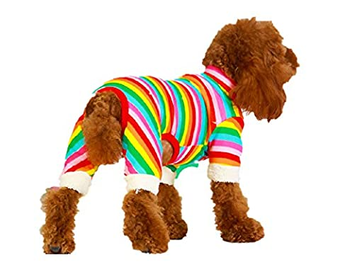 Fully Dog Pajamas Cotton Soft Stripes Clothes Pet Puppy Jumpsuit Pjs Cotton for Pet Cats Kitten (rainbow color) (2#, rainbow