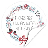 48 Weihnachtsaufkleber Frohes Fest und ein gutes neues Jahr - für Geschenke zu Weihnachten / Sticker / Aufkleber / Etiketten / Rund