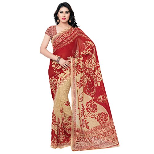 Anand Sarees Faux Georgette Saree (Beige/Red)  available at amazon for Rs.299