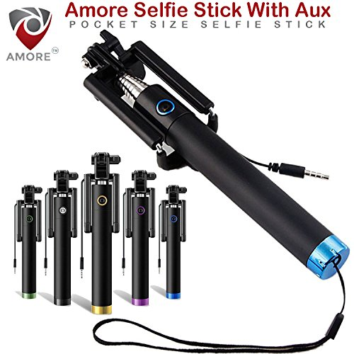 Amore Pocket Size Selfie Stick Aux Cable (No Bluetooth or Battery) for taking Photos & Videos on all Smart Mobile Phones,Premium & Best Quality, Light Weight, Best Price Gift, Long Length Extendable & Foldable Selfie Stick, Selfie Stick Compatible for iPhones (iOS 5.0+) 4s, 5s, 6s, 6s Plus, Android Phones, Samsung Galaxy, Note, Edge, Gionee, Intex, Karbonn, Lenovo, Nokia, Nexus, Oppo, Vivo, Coolpad, One Plus, Moto, Sony. (Colours May Vary)  available at amazon for Rs.199