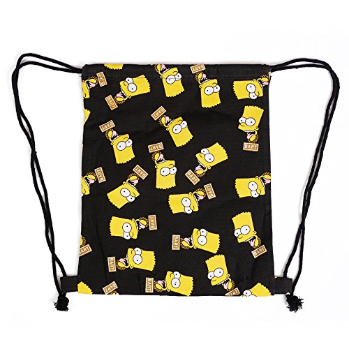 our fantasy time Rucksack Simpson in schwarz, Schnür Sack, Segeltuchtasche, Schultasche, Beutel Tasche, Beutel Tasche, Turnbeutel Sports, Eimer Tasche, Multifunktionsrucksack, Gym BG002 (Rucksäcke Simpsons)