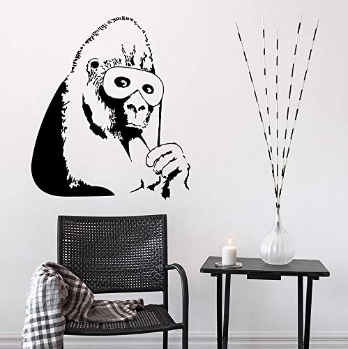 Pbldb Vinyl Wall Decal Gorilla Schwarze Maske Wandaufkleber Abnehmbare Affe Wandbild Home Decor Chimp Design Vinyl Kunst 42X48Cm