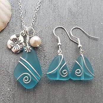 """Hawaii Draht umwickelt Turquoise Bay blaues Meer Glas Halskette + Ohrringe,""""December Birthstone"""", Hibiscus und Süßwasserperle, (Hawaii Gift Wrapped, individuell gestaltete Geschenk-Message)"""