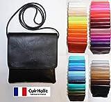 Pochette Bandoulière - Sac - Sacoche - Cuir d'Agneau Véritable - Femme - Taille S - Fabriqué en France