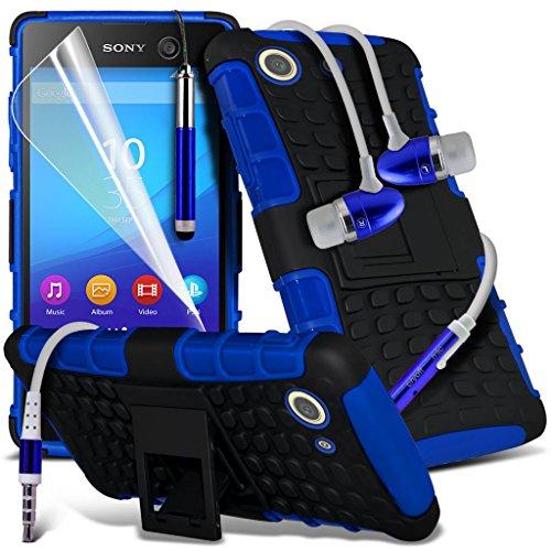 Étui pour Sony Xperia M5 / Sony Xperia M5 E5603, E5606, E5653 Titulaire de téléphone Case voiture universel Mont Cradle Dashboard & pare-brise pour iPhone yi -Tronixs Shock proof + Earphone (Blue)