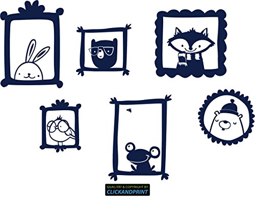Preisvergleich Produktbild CLICKANDPRINT Aufkleber » Waldtiere Bilderrahmen, 140x99,3cm, Metallic Tiefblau • Dekoaufkleber / Autoaufkleber / Sticker / Decal / Vinyl