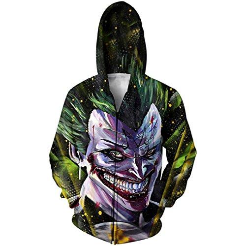 Plus Size Zip-Up Hoodie Crossover 3D-Zipper Hoodie Outfits Jumper Sportbekleidung Majin Joker S (Size Camo Hoodie Plus)