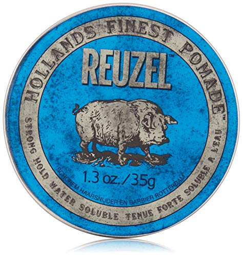 REUZEL Pomade Blue Strong Hold High Sheen Water Soluble, 1er Pack (1 x 35 g)
