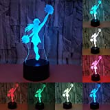 LOERO 3D Visual Creative LED Lampada 3W per bambini Night Lights Cheerleading Girl 7 colori Touch Switch Control Luci di arte per Night Light Baby Bambini Adulti per Baby Bedroom Nursery Regalo di compleanno