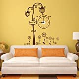 K2N Brown Round Wall Clock 3d Mirror Sticker Big Watches Home Office Decorations