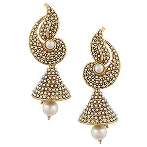 Dancing Girl White Pearl Jhumka Earrings For Women