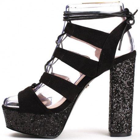 Ideal Shoes - Sandales à talon carré pailleté style spartiate Maena Noir