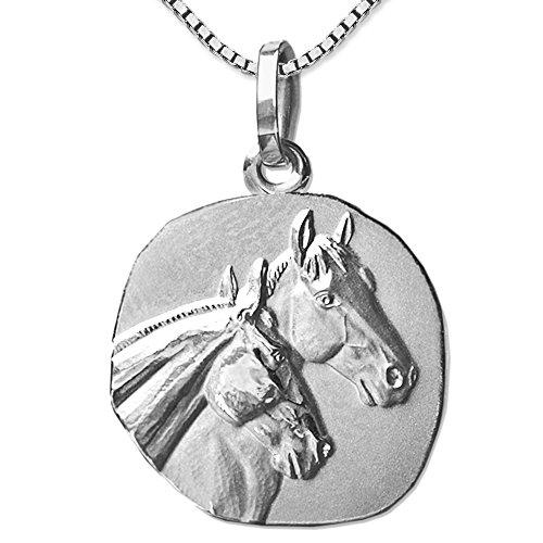 CLEVER SCHMUCK Set Silberner Anhänger als Medaille Ø 18 mm mit 2 Pferdeköpfen Matt und glänzend mit Kette Venezia 45 cm Sterling Silber 925 rhodiniert