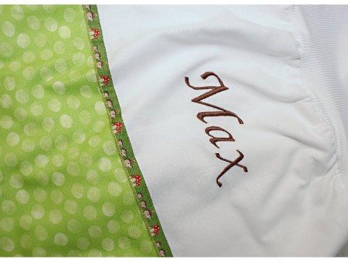 Baby Schlafsack Pucksack Strampelsack 70 cm Punkte Hellgrün mit Namen bestickt - Schriftzug Dunkelbraun