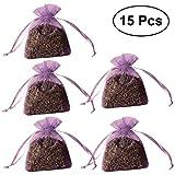 VORCOOL 15PCS getrocknete Blumen-Beutel-Zugbeutel-Duftstoff-Lavendel-Duft-Geruch-Beutel-Stickerei-Taschen, hellpurpurn