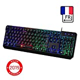 KLIMTM Chroma Clavier Gamers Filaire - AZERTY FRANÇAIS - Haute Performance - USB Clavier Ergonomique Eclairage Chromatique Gaming Noir RGB - PC, PS4, Xbox One, Portable [ Nouvelle Version 2019 ]