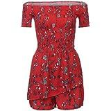 Mono Rojo Koly, Koly Mujeres De Hombro Floral Mini Playsuit Short Romper (XL)