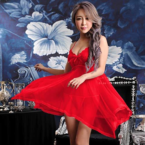 HUANGYUNCHAO Spielzeug für Erwachsene Frauen Sexy Sheer Solid Color Lace Strap Kleid Chemise Babydoll Dessous mit G-String Weiß, Größe: Fit Gewicht 40-60kg (Farbe : Color9) -