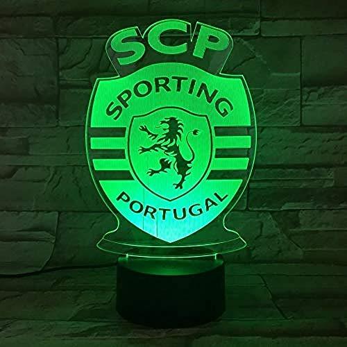 Nachtlichter Led Lissabon Sporting Clube De Portugal Illusion 3D Fc Primeira Liga Fußball Logo Lampe Nachttisch Nacht Kinder Kind (Sporting Fc Portugal)