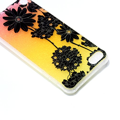 Coque iPod Touch 5 Glitter, iPod Touch 6 Coque Brillante, SainCat Ultra Slim TPU Silicone Case pour iPod Touch 5/6, Glitter Bling Diamante Strass Anti-Scratch Soft Gel 3D Housse Transparent Silicone C Noir Daisy