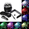 SOLMORE 3W Disco RGB Discokugel Stimme Aktiviert Auto LED Lichteffekt Bühnenbeleuchtung Kristalleffekt Lampe mit Ladegerät DC12-24V für Auto usw.