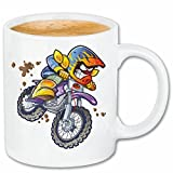 Reifen-Markt Kaffeetasse Motocross EXTREM Sport Motocross Outdoor Motocross Bike CROSSBIKE Freestyle Keramik 330 ml in Weiß