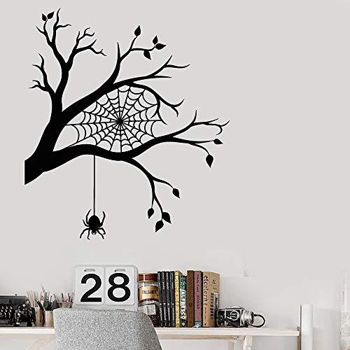 Moderne Raumdekoration Wandaufkleber Ast Spinnennetz Spinnen Halloween Aufkleber Dekoration Schlafzimmer Lustige Abziehbilder56 x 63 cm (Ast, Dekoration Halloween)