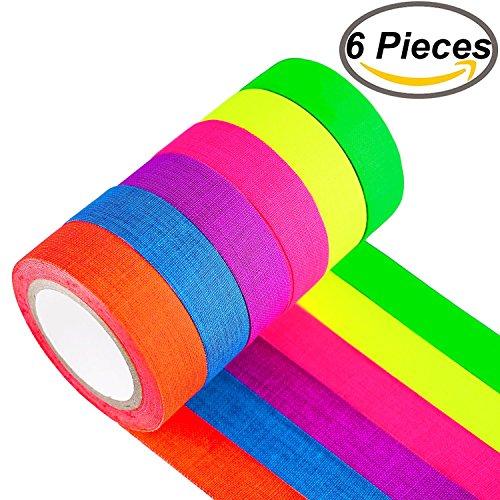 Fluoreszierende Tape, fluoreszierend/Neon Gaffer Tape (0,5 in X 16,5 Füße) 6 Stück
